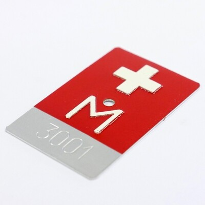 Kennzeichen Nr M 3001 50x80mm Aluminium, rot reflektierend