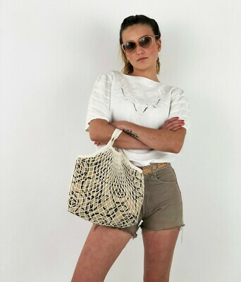 LUCIA - Tote Netted Lined Bag, Slouchy Bag