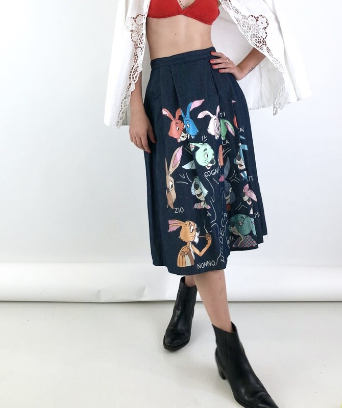 Pleated Midi Denim Skirt With Pockets and Cartoon