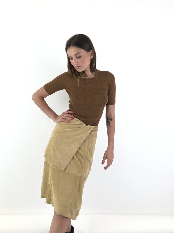 Gianfranco Ferre Asymmetric Suede Leather Skirt
