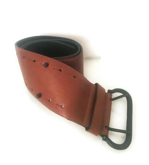 Krizia Leather Belt Dress High Waist