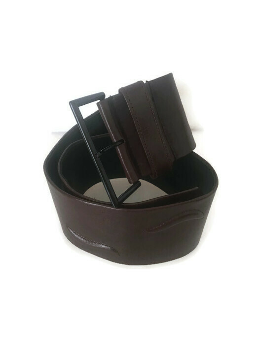 Krizia Extra Wide Brown Leather Belt