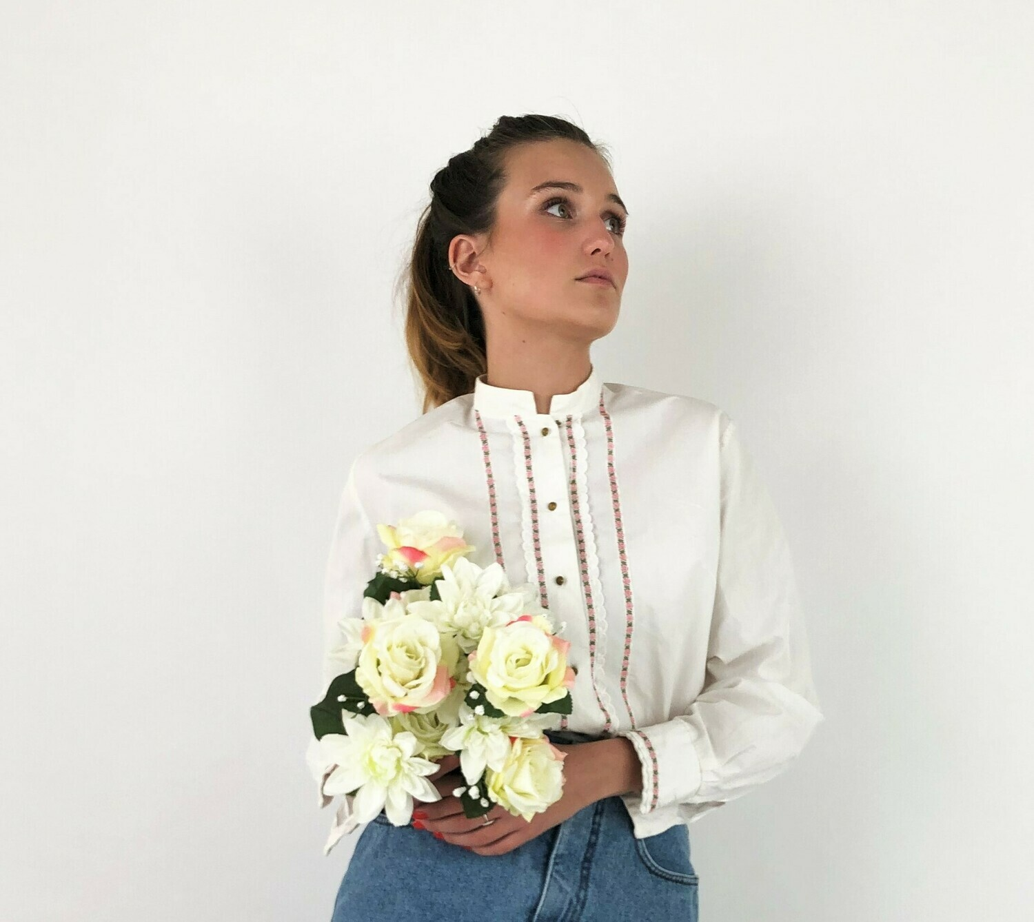 White Embroidered White Blouse