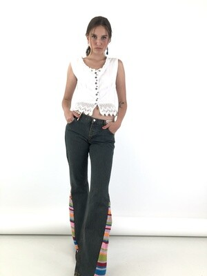 Festival Flared Denim Jeans Reworked and Knitted
