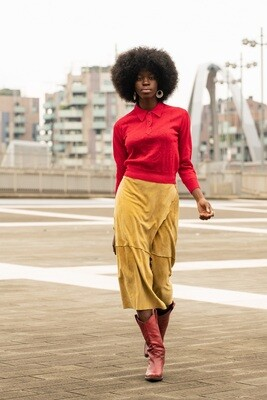 Vintage Western Sand Suede Wallet Skirt