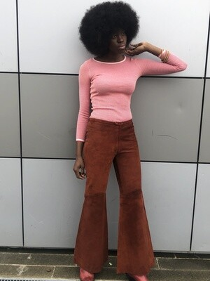 Vintage Flared Trousers in Suede