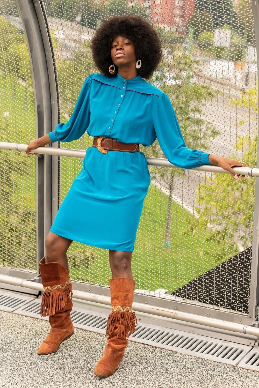 Vintage 70's Silk Midi Shirt Dress
