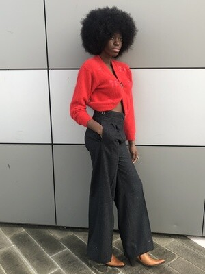 Les Copains Grey Wide Tailored Trousers
