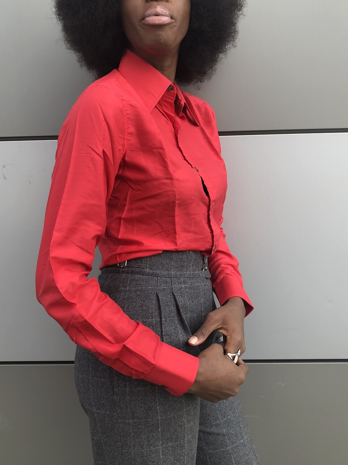 Silk Pleated Button Down Tailored Blouse