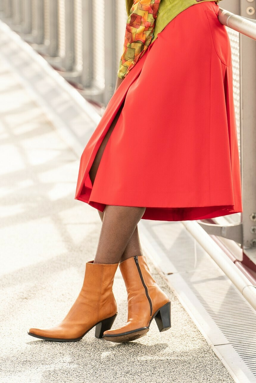 Point Toe Leather Ankle Boots