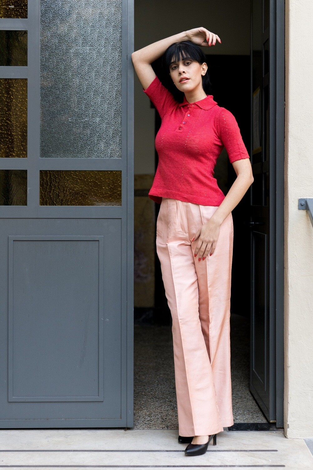 Vintage 1980's Kick Flare Trousers Pink