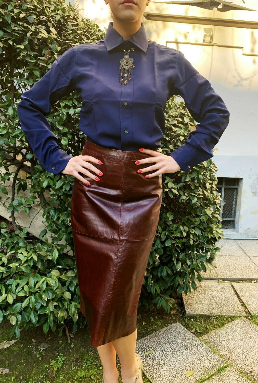 Vintage 1980s Leather Pencil Skirt