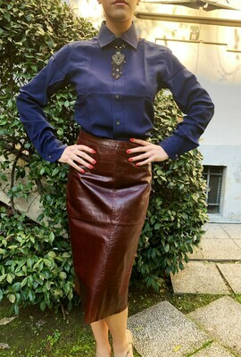 Vintage 1980s Leather Pencil Skirt