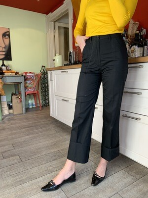 Vintage Cropped Trousers in Black Dead Stock