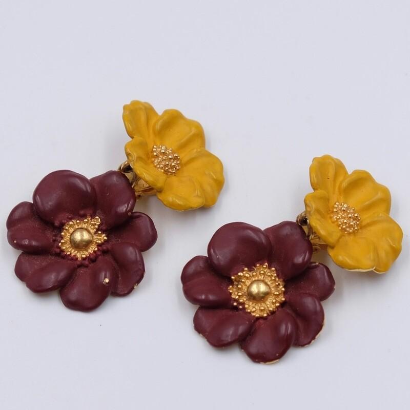 Клипсы цветочки с цветной эмалью Kenzo 1990-е