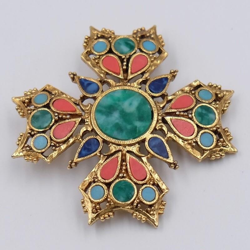 Брошь-крест с имитацией малахита Art 1970-е