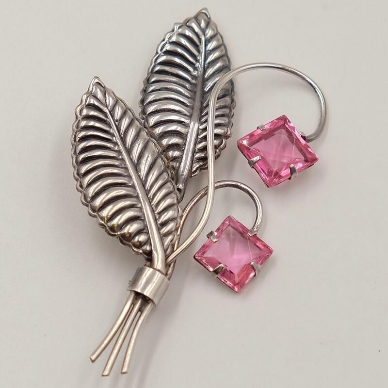 Изящная брошь в форме цветка с розовыми бутонами Sterling by Jordan 1960-е