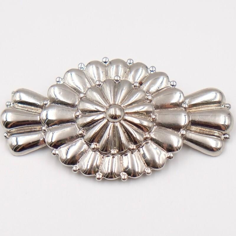 Винтажная брошь-конфетка серебристого цвета
