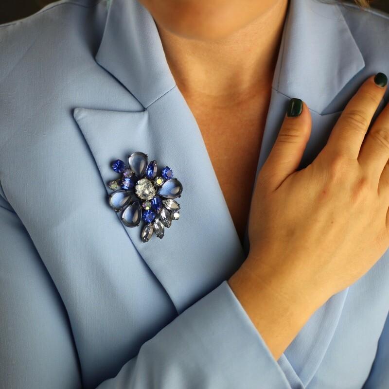 Винтажная брошь из синего стекла Regency 1950х годов