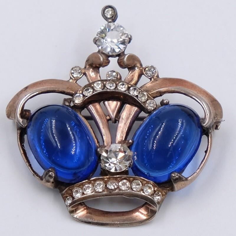 Винтажная брошь корона Sterling 1940е