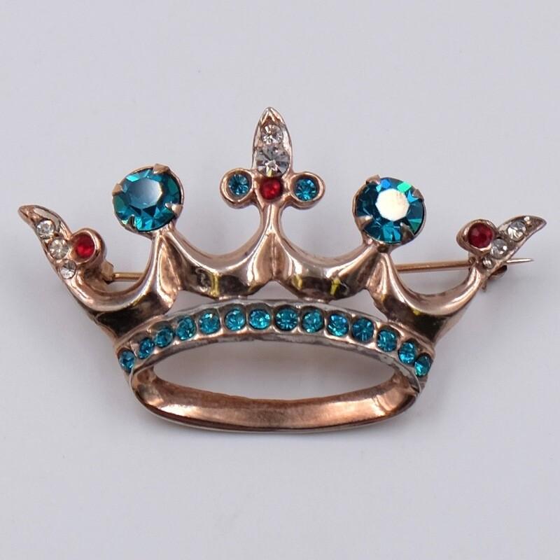 Винтажная брошь-подвеска корона Sterling 1930-е