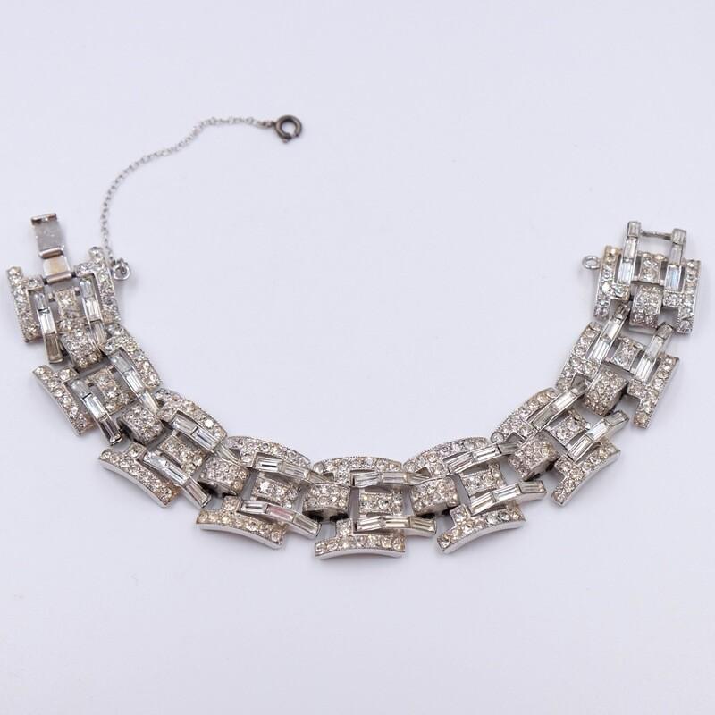 Винтажный браслет с имитацией бриллиантов 1950e