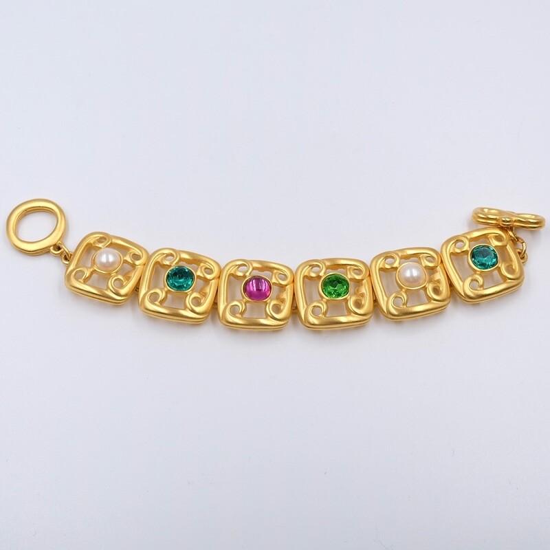Винтажный браслет Givenchy c зелеными и розовыми вставками 1990-е