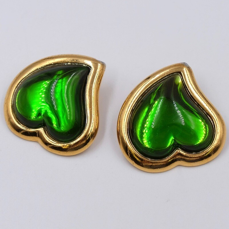 Винтажные клипсы зеленые сердечки YSL 1990е