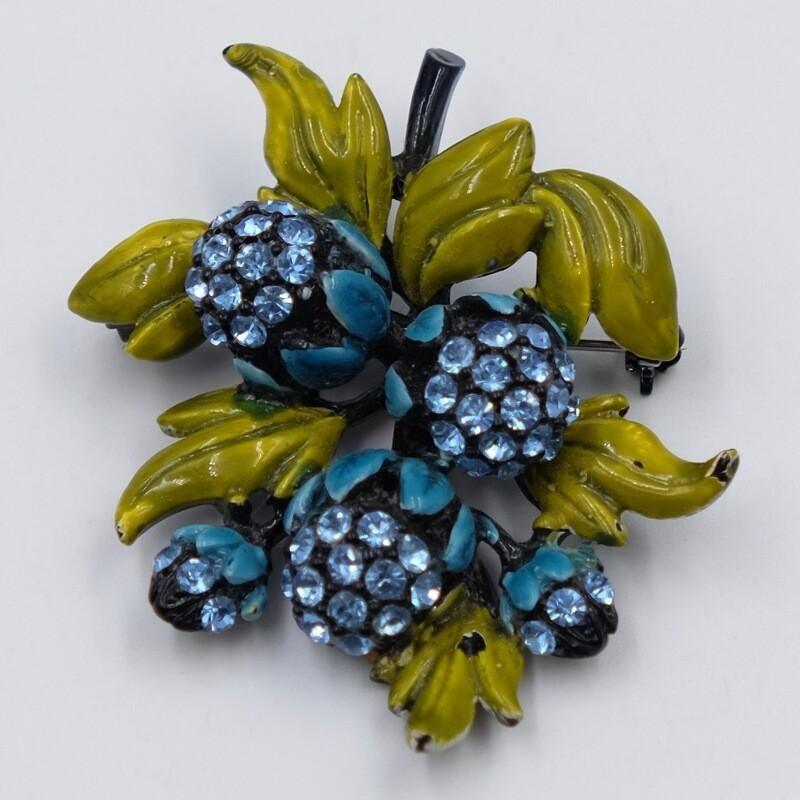 Винтажная голубая брошь HollyCraft 1960е