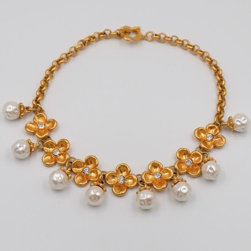 Цветочное ожерелье и жемчужинами-капельками Kenzo 1980-е