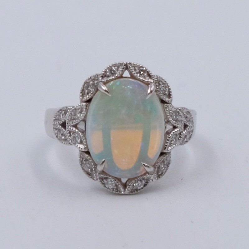 Винтажное кольцо 750 пробы с опалом 2.1 карата 17 размер маркировано Fremonti 1950е