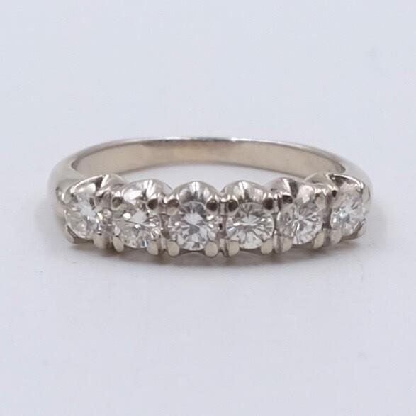 Кольцо из белого золота 585 пробы 15 размер 0.75 карата 1950е