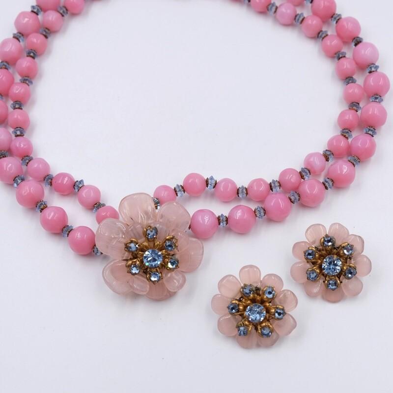 Винтажный сет из розового стекла Miriam Haskell 1950е