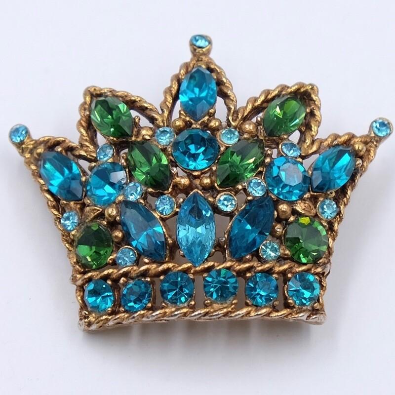 Брошь корона Regency бирюзового оттенка 1950е