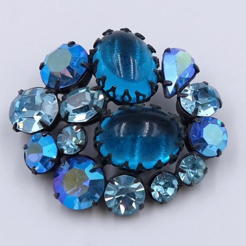 Винтажная брошь Regency из синего стекла 1950е