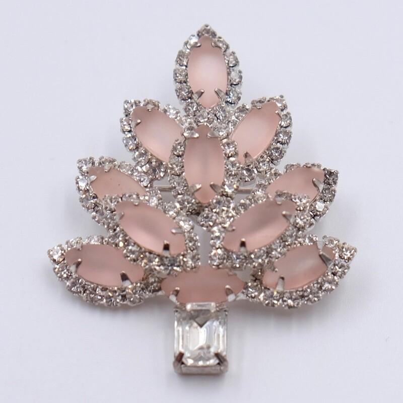 Винтажная брошь дерево из розового стекла 1960е