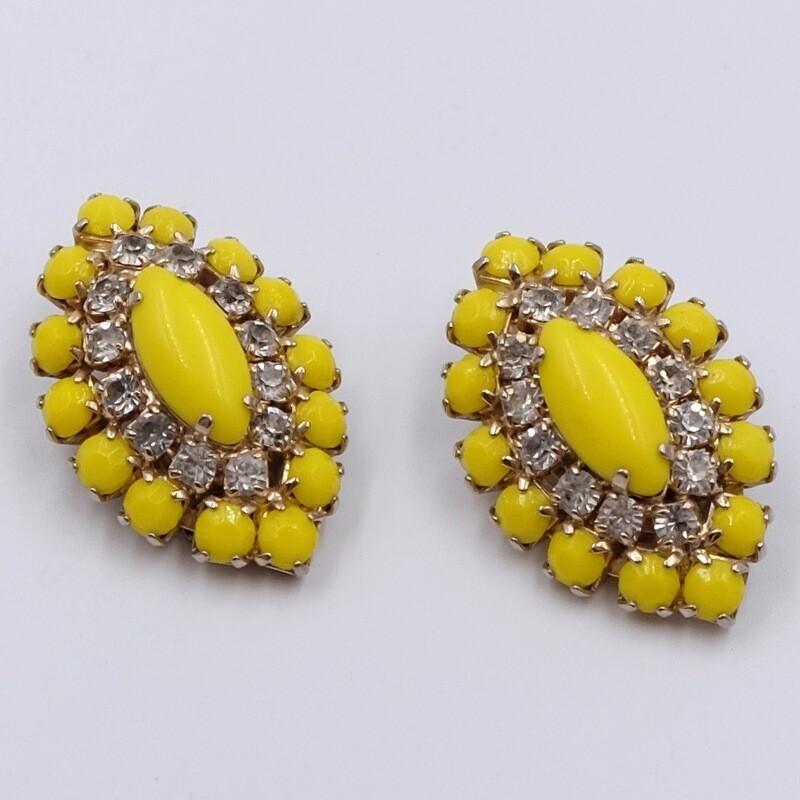 Винтажные клипсы Weiss яркого желтого цвета 1960е