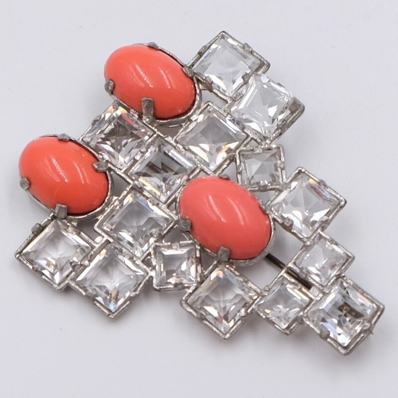 Винтажная брошь Арт-Деко с кристаллами 1930е