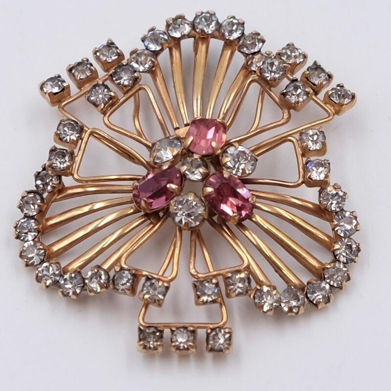 Брошь 1930х годов с кристаллами и покрытием золотом
