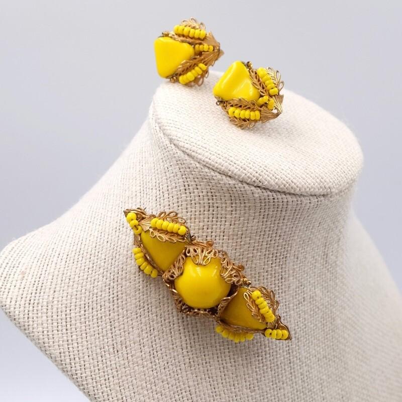 Винтажный редкий сет Miriam Haskell насыщенного желтого цвета 1960е