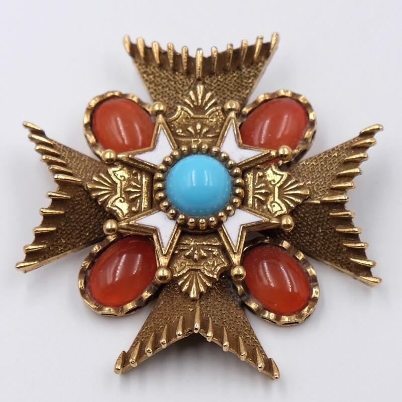 Винтажная брошь Мальтийский крест CoroCraft 1960
