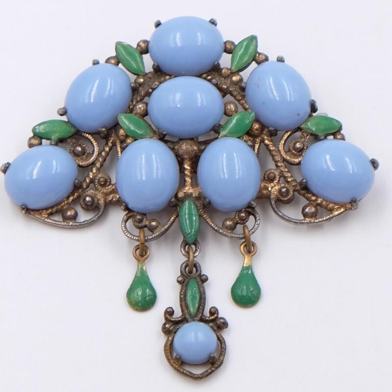 Антикварная брошь 1930е с голубым стеклом