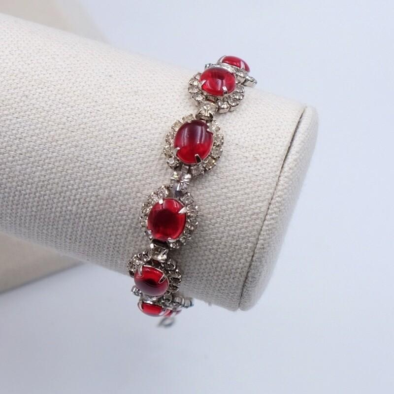 Винтажный браслет Kramer имитация рубинов и бриллиантов 1950е