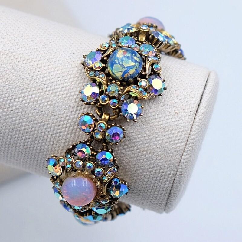 Винтажный браслет голубого цвета Hollycraft