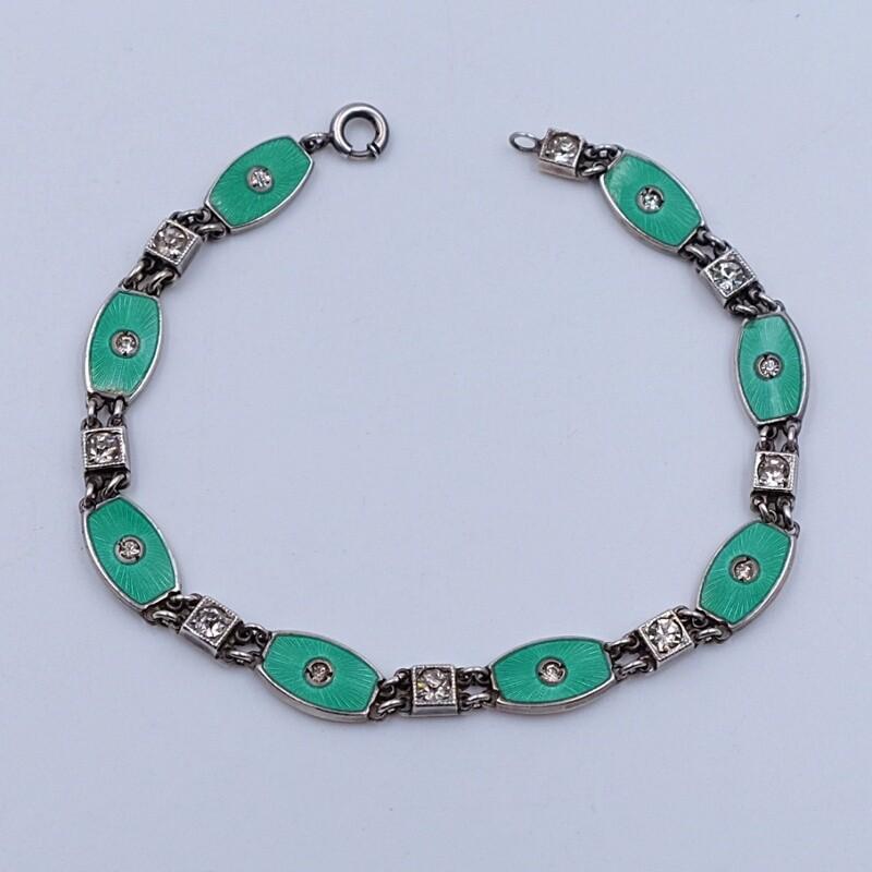 Антикварный браслет Арт-Деко с зеленой эмалью 1930е