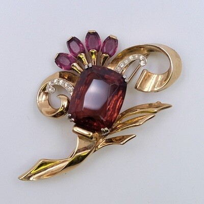 Mazer Sterling Brooch Faux Amethyst Very Rare 1950's