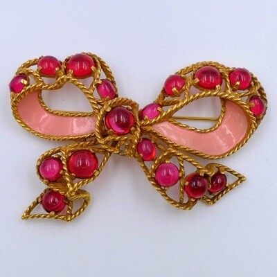 Vintage Pink Cabochons CastleCliff Bow Brooch 1960's