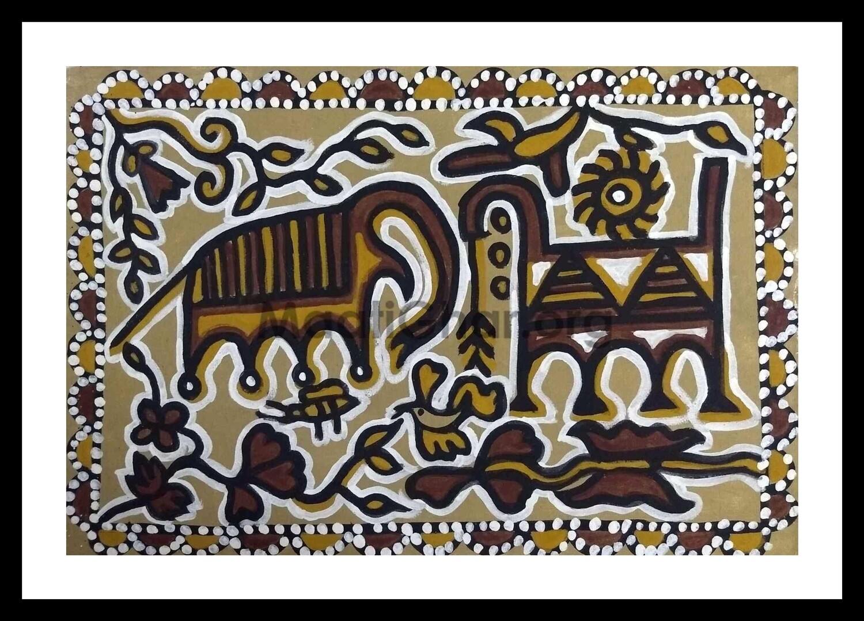 Sohrai Painting - Animals 1 (22x15 in)