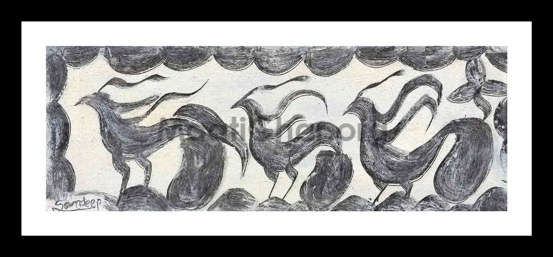 Khovar Painting -  Birds 2 (15x5.5 in)