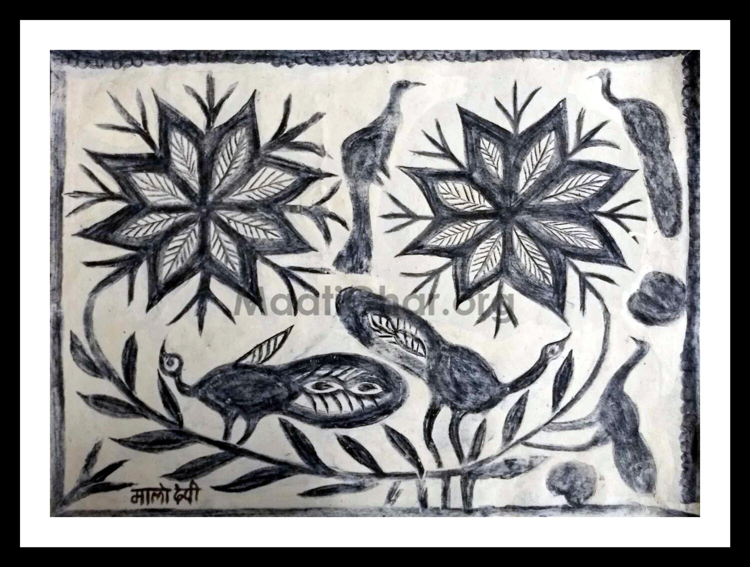 Khovar Painting - Peacocks and Flowers (30x22 in)